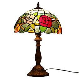 WMING 12 Inch Tiffany Table Lamp Retro Style Stained Glass H