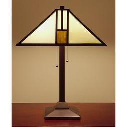 Tiffany Style White Mission Style Table Lamp, 25-Inch