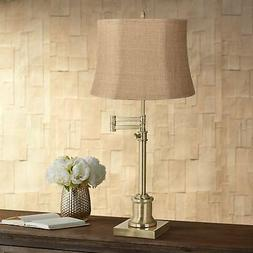Traditional Swing Arm Desk Table Lamp Brass Natural Burlap S