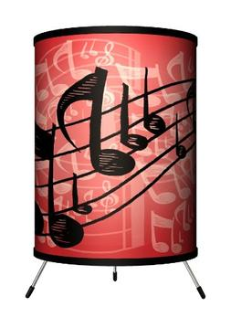 Lamp-In-A-Box TRI-MUS-REDNT Music - Red Musical Notes Tripod