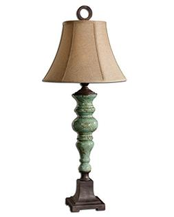 Turquoise Candlestick Column Table Lamp | Native American De