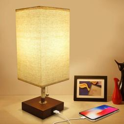 USB Bedside Table Lamp, Seealle Solid Wood Nightstand Lamp,