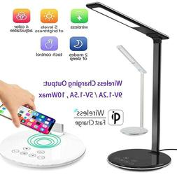 USB Charge LED Desk Table Lamp + QI Wireless Phone Charger R