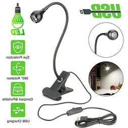 USB Flexible Reading LED Light Clip-on Beside Bed Desk Table
