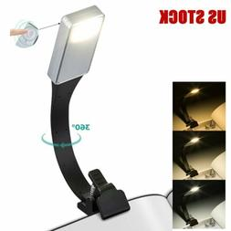 USB Rechargeable LED Lights Clip on Book Desk Reading Lamp F