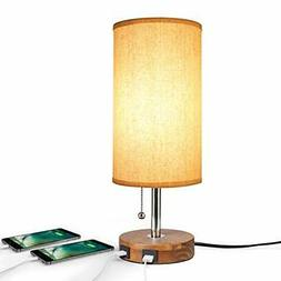 USB Table Desk Lamp, Bedside Nightstand Lamp with 2 USB Char