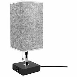 USB Table Desk Lamp, Grey Bedside Nightstand With Charging P