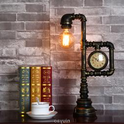 Vintage Industrial Water Pipe Table Light Edison Desk Accent