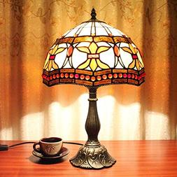 12-Inch Vintage Pastoral Stained Glass Tiffany Table Lamp Be