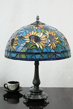 12-Inch Vintage Pastoral Sunflower Stained Glass Tiffany Tab