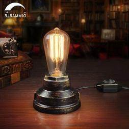 Vintage Table Lamp Industrial Wrought Iron Desk Lamp with Di