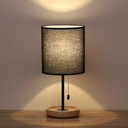 HAITRAL Wooden Table Lamps Black - Minimalist Bedside Desk L