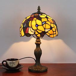 8 Inch Yellow Pastoral Retro Antique Tiffany Table Lamp Beds